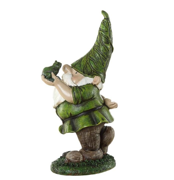 Green gnome holding frog statue resin garden figurine