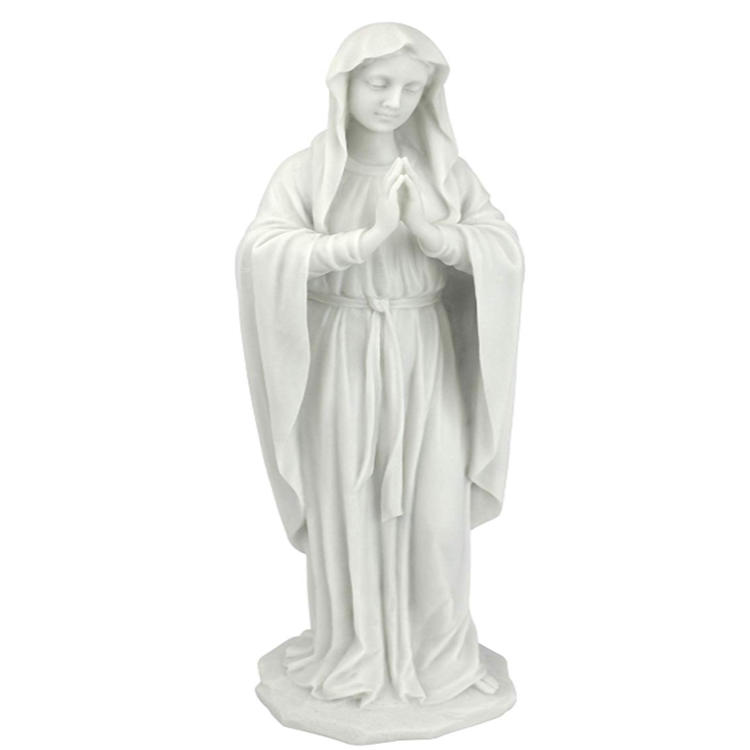 White resin blessed virgin mary statue figurine