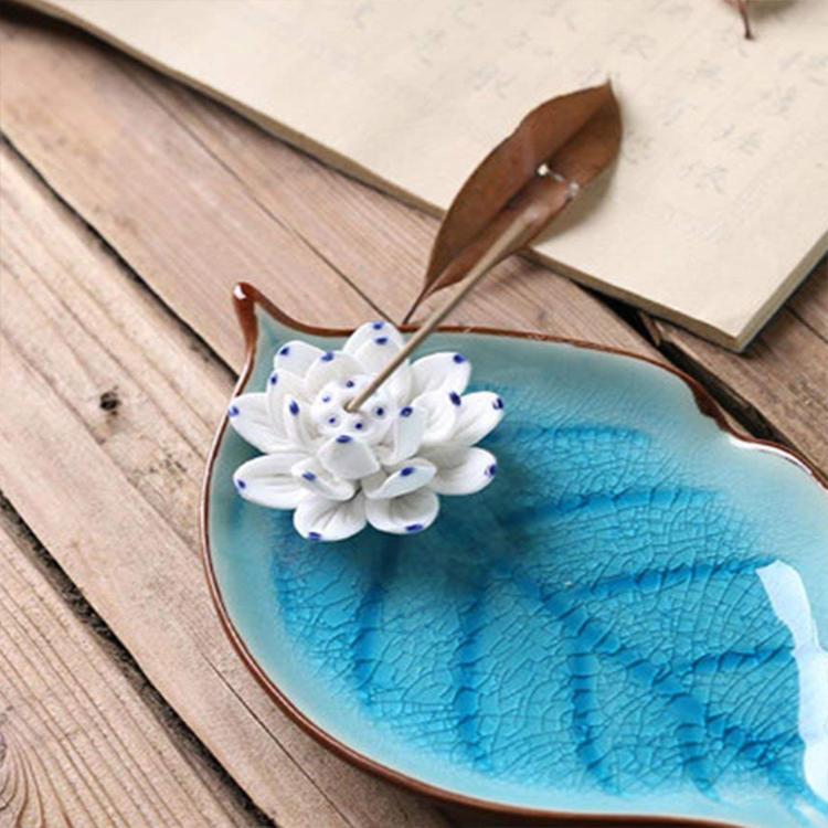 Blue Ceramic Incense Burner Stick Holder Leaf