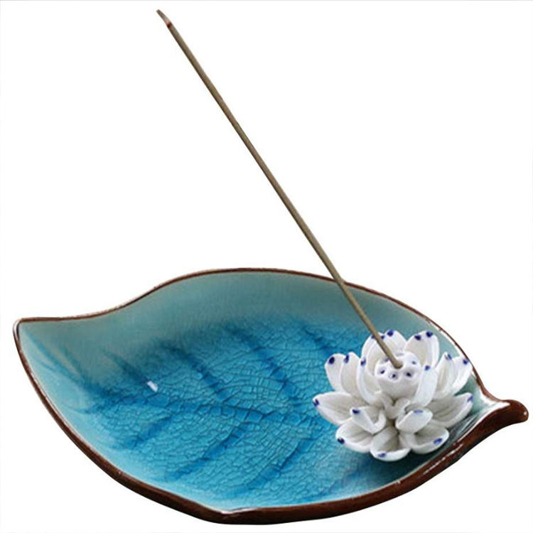 Blue Ceramic Incense Burner Stick Holder Leaf