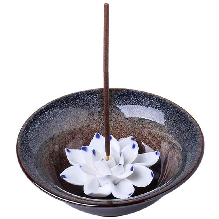 Chinese Incense Burner Bowl Ceramic Handicraft Holder