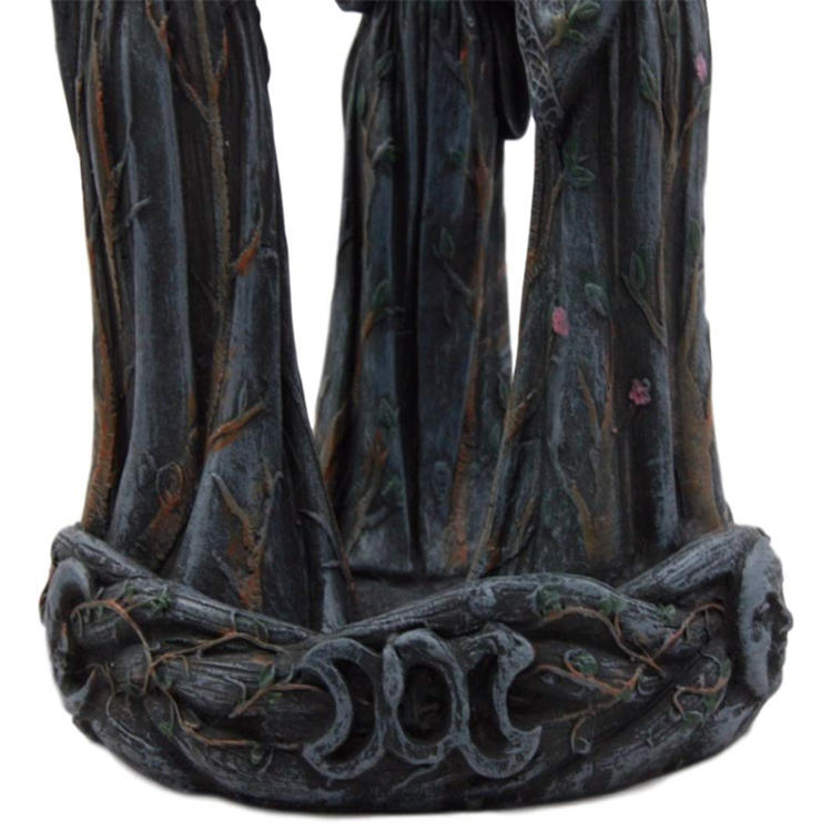 Backflow Incense Cone Burner Figurine Maiden Triple Wiccan