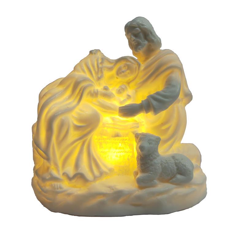 Ceramic Holy Family Figurine Mary Joseph & Baby Jesus