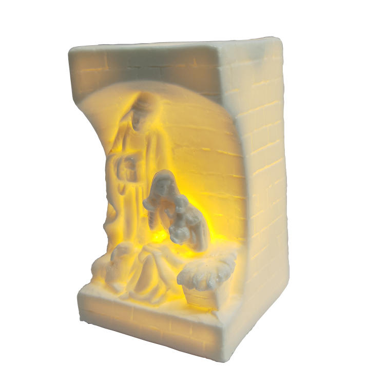 Holy Family Ceramic Tealight Holder Illuminated Table Decor