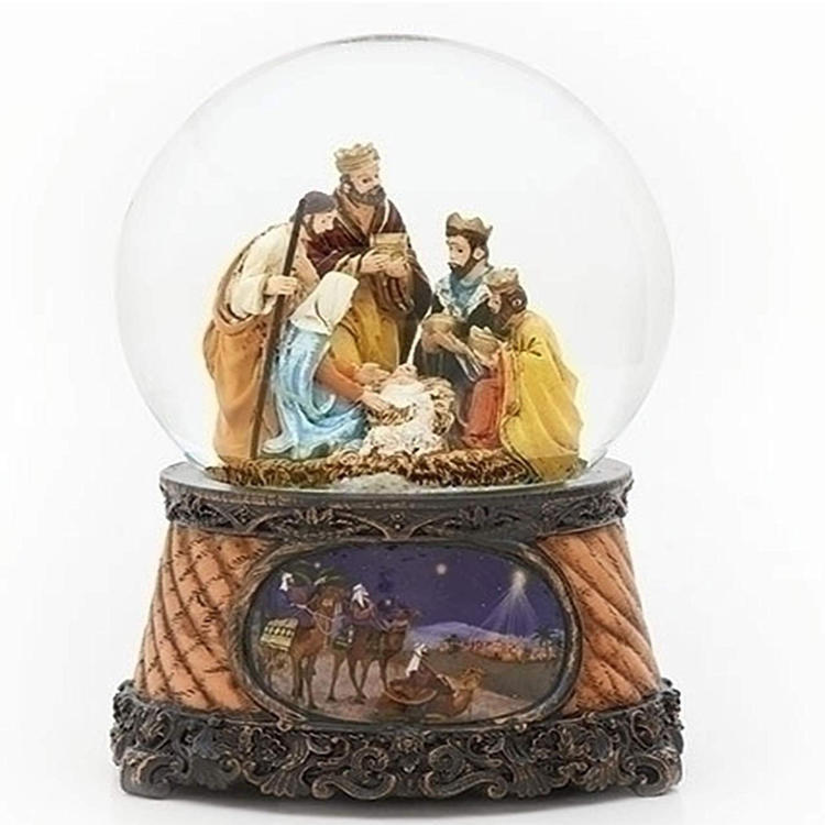 Resin Snow Globe Christmas Nativity Globe Miniature Nativity