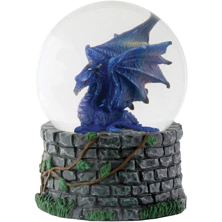 Factory Resin Water Ball Midnight Dragon Water Statue Snow Globe Figurine