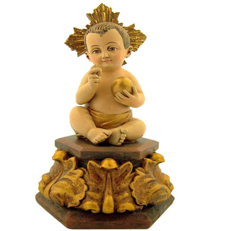 Seated Resin Divino Divine Figurine, Child Jesus Christ Statue Decor Santo Nino 5 Inch Figurine