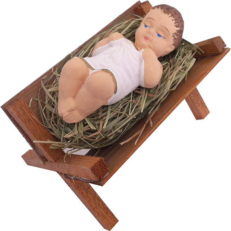 4 Inch Small Nativity Figurine Baby Jesus in Wooden Manger Statue, Nino Laying on Natural Hay