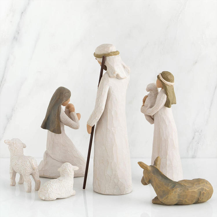 Statues Christmas Nativity Set, Sculpted Hand-Painted Resin Nativity Figures 6 Pcs Set