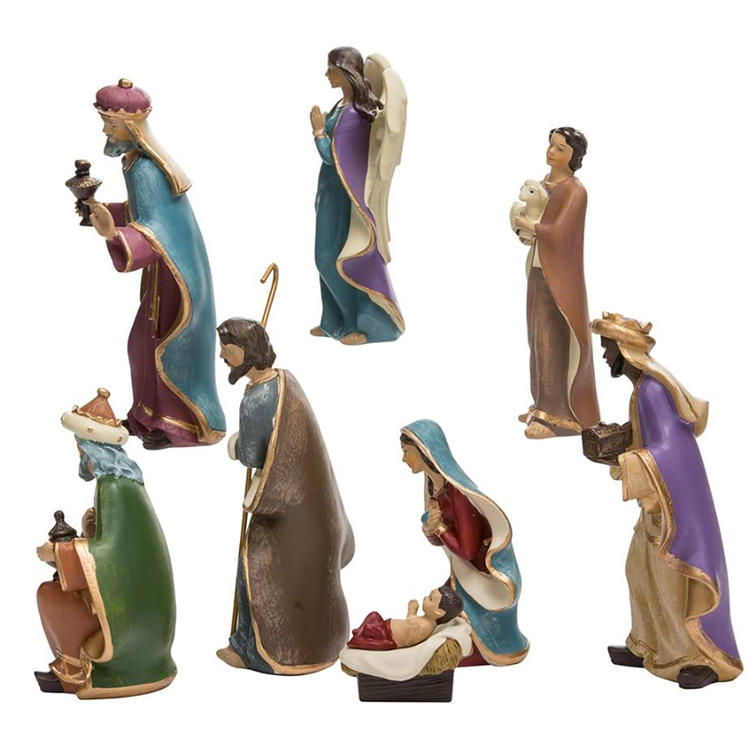 Set of 8 Resin Nativity Figurine Set Home Decoration Christmas Ornament Gifts