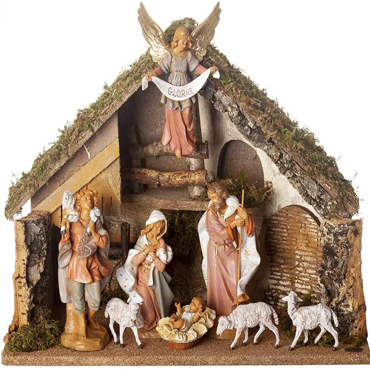 Christmas Real Life Nativity Scene Set Holiday Decoration Stable with 11 Resin Figurines