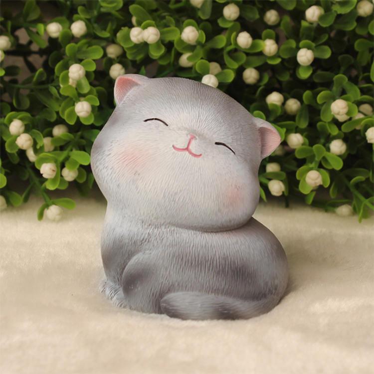 Mini Cats Miniature Gray Micro Cat Ornament Decorations Home Office Decor Resin