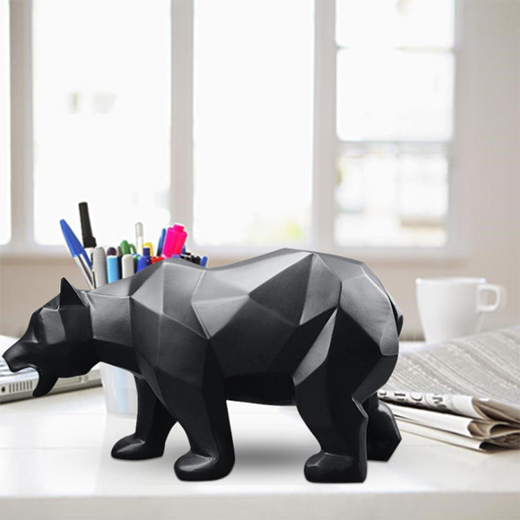 Bear Geometric Modern Abstract Statues Animals Figurine Resin Craft Kids Gift Toy Home Decoration Black