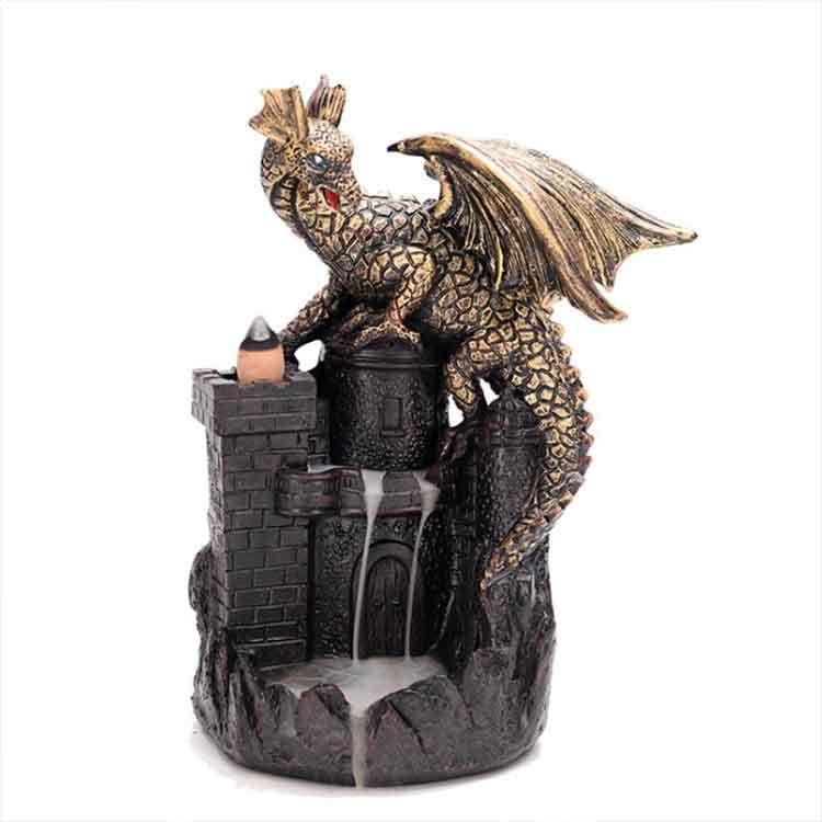Resin Craft Gifts Censer Backflow Incense Burner Castle Medieval Gothic Dragon Burners