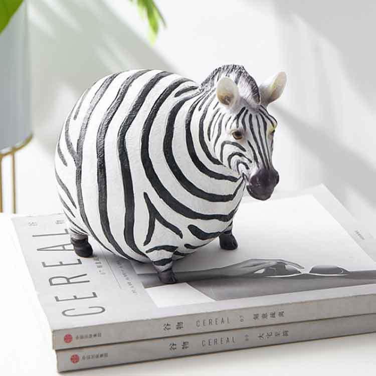 African Animal Zebra Statue Resin Figurine Black and White Striped Zebra Home Statue