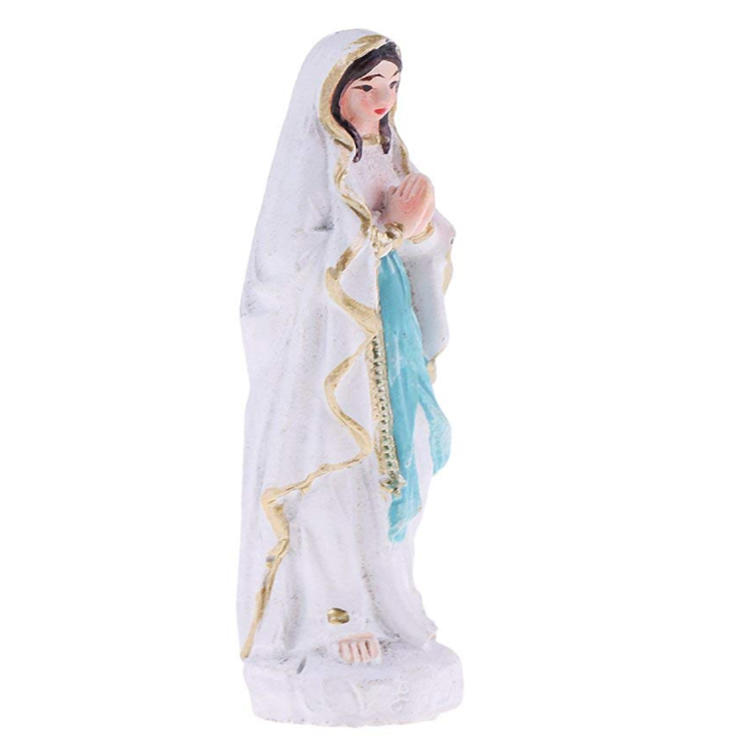 Mini virgin mary statue resin white home decor ornament