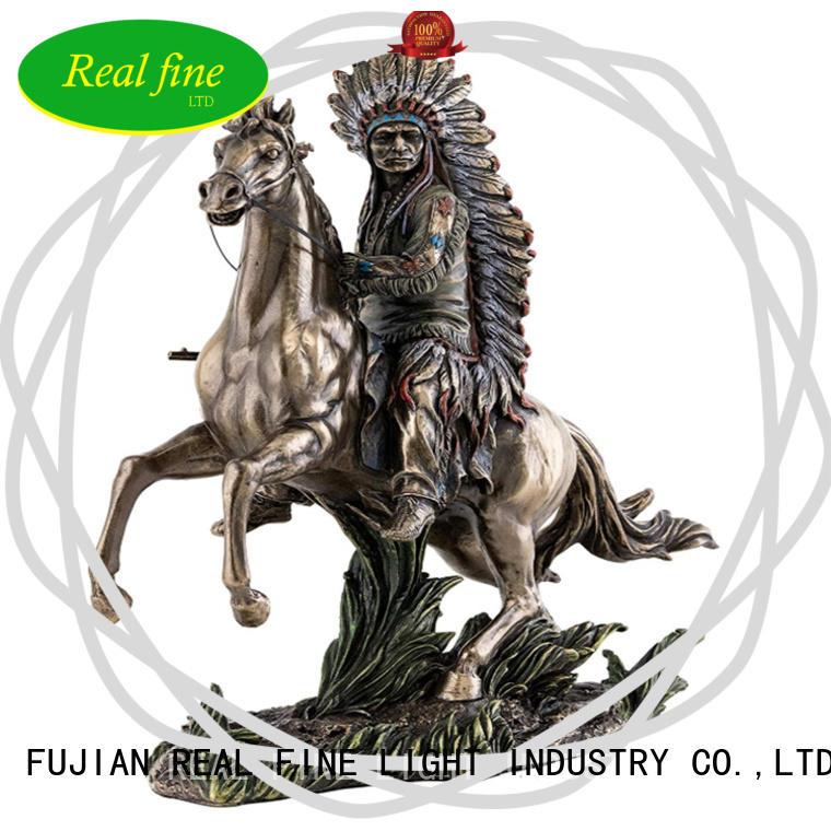 Native american designs figurine chif sitting on horseback statue
