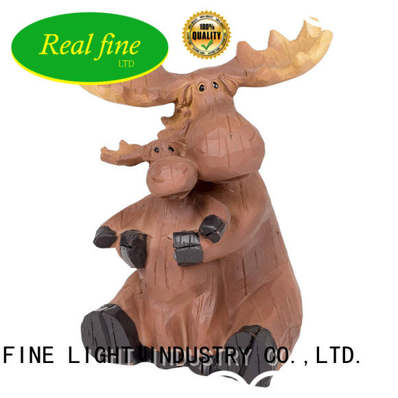 Outdoor moose statue mama and baby animal decorative resin figurine