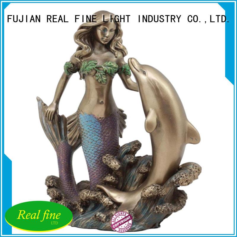 Polyresin mermaid dolphin figures  decoration garden figurine